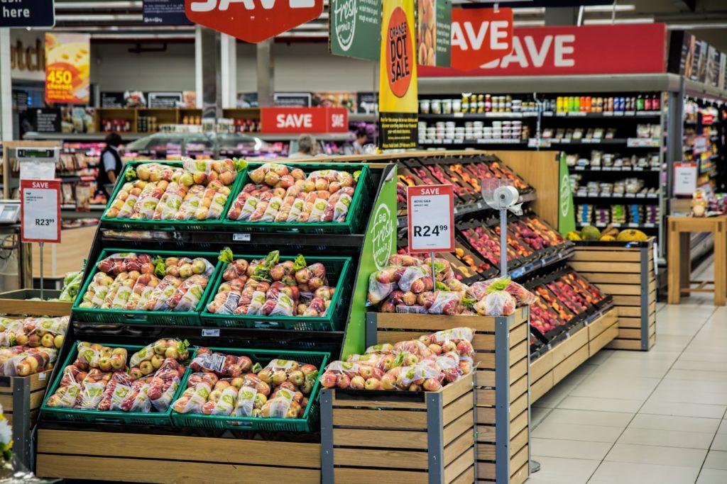 fruit and vegetable displays at supermarket