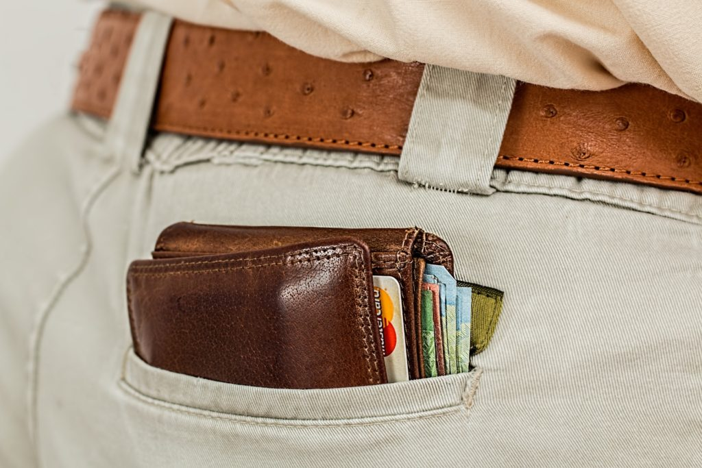 Man's wallet with credit card