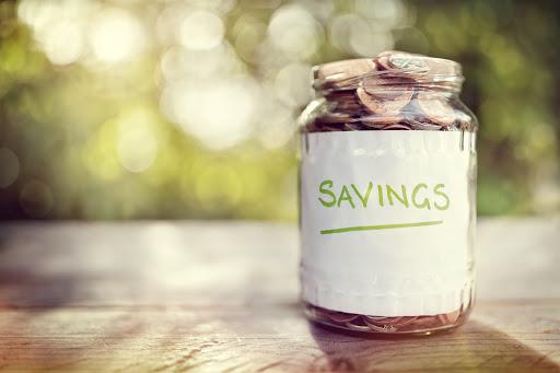 Savings jar full of coins