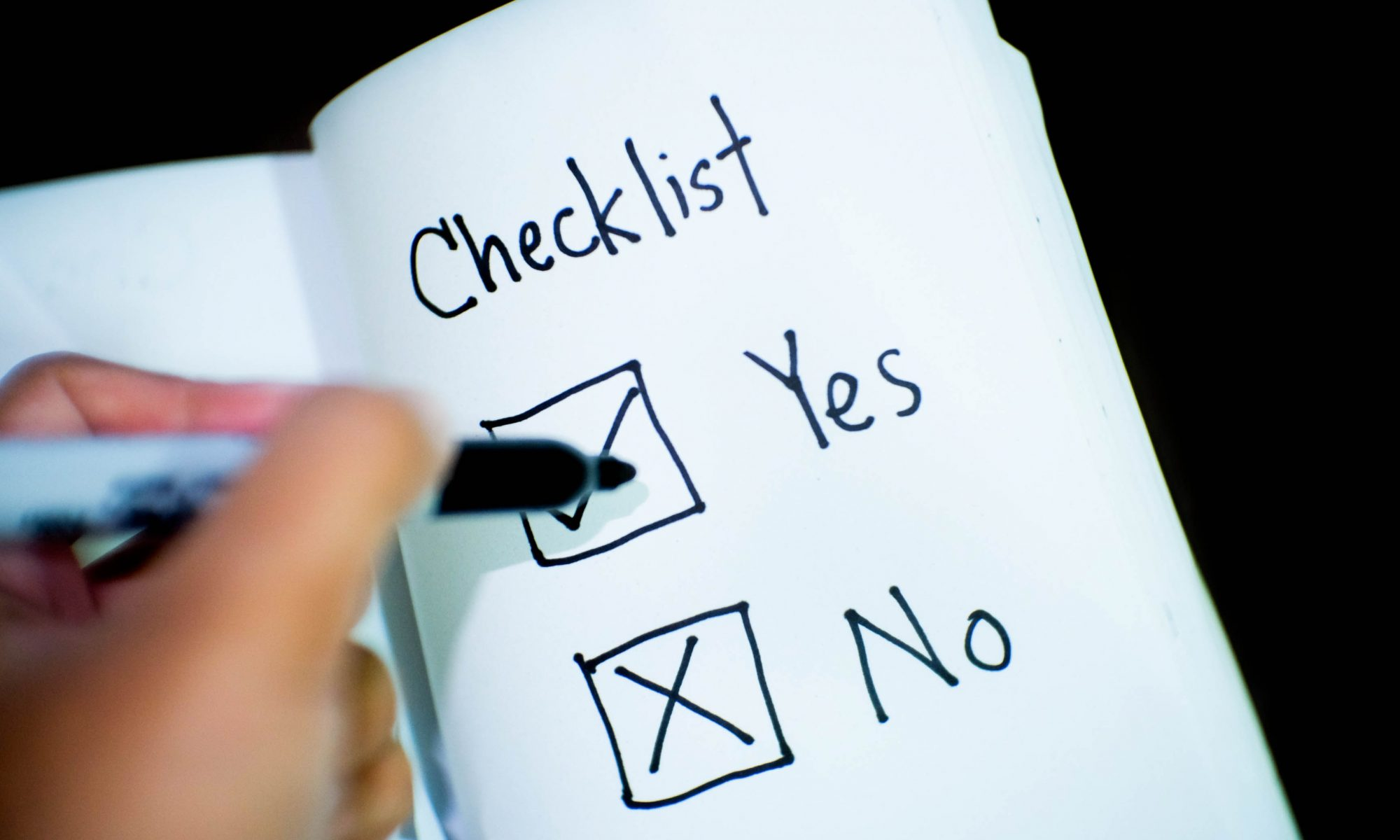 Completing a checklist